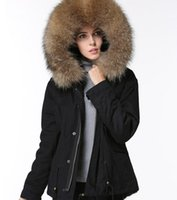 INS popolare vendita Brown pelliccia di procione trim Meifeng donne di marca cappotti invernali nero fodera in pelliccia nera mini snow parkas