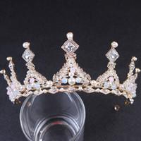 Невеста Золотой ручной работы Корона волос обруч головной убор сплав Корона Кристалл бусины свадебное платье аксессуары для женщин