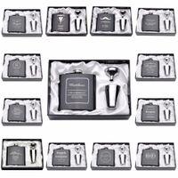 Favores de la boda del regalo del día personalizado grabado 6 oz frasco de la cadera del acero inoxidable con blanco Negro caja de cumpleaños de San Valentín