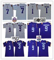 2020 Burreaux Jerseys 9 Joe Burrow Lsu Tigers 125th 3 Odell Beckham Jr. 7 Grant Delpit 20 빌리 캐논 1 크리스티안 풀턴 1 체이스 유니폼