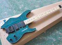 Blå Headless Electric Gitarr Med Flam Maple Faner, Rosewood / Maple Fretboard Tillgänglig, 24 Frets, kan anpassas som förfrågan