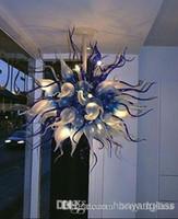 2020 Bule Dark Flower Murano luz de techo moderna pieza central de las lámparas de iluminación para el Hotel Museo Gellary Pasillo Decoración