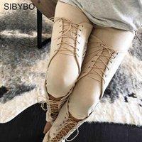 Pantaloni da donna Capris Sibybo Lace Up in pelle scamosciata Leather Donne Autumn Hollow Out Skinny Sexy Pantaloni Pantaloni Bandaggio lungo Casual