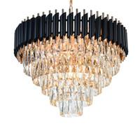 Кристалл обедающая люстра висит блеск элегантный черный современный светодиодный хрустальный люстр для гостиной зал фойе