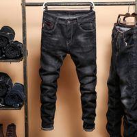 Herren schwarze Röhrenjeans Frühling Herbst feste schlanke Jeans Cowboyhose Herren Baumwolle elastische lange Jeans Größe 36 Y19060501