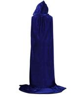 Unisex Comprimento Completo Com Capuz Robe Manto Longo Capa De Veludo Festa de Halloween Capes Fantasia Cosplay Traje Da Morte Da Bruxa Príncipe Princesa Anime Trajes