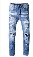 Vendita calda! Superiore del progettista di marca AMR Uomini Denim Jeans Slim ricamo pantaloni moda Fori pantaloni di formato degli Stati Uniti 28-40