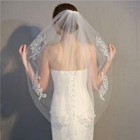 Apliques de encaje apliques de encaje 2021 velo nupcial una capa barato corto de novia corta formal de boda accesorios