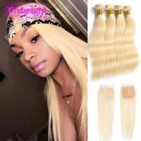 Pérou cheveux humains 4 Bundles Avec 4X4 dentelle fermeture 613 Blonde Silky droite Vierge cheveux 5 Pièces Uniques Set Trames cheveux