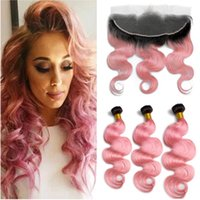 Dark Roots Ombre Розовые объемные волны Перуанские человеческие волосы 3 пучка с фронтальной отделкой # 1B / Pink Ombre Full Lace Frontal 13x4 с пучками для плетения волос