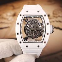 Beste Ausgabe RM055 Weiß Nano-Keramik Verbundwerkstoffe Hülle Skelett Zifferblatt Japan Miyota Automatische Herrenuhr Weiße Gummi Sportuhren Hallo_watch