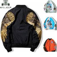 Top Quality Spring Bird Wings Ricamo Giacca Da Baseball Stand Collare Plus Size 3XL Cappotto Bomber Chaquetas Hombre DropShipping