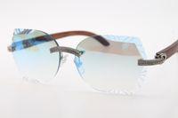 2020 Toptan Büyük Taşlar Gözlük Ahşap Rimless Unisex Altın Ahşap Güneş Gözlüğü Kadın Erkek Ile Oyma Mavi Ayna Lens Sürüş Gözlük