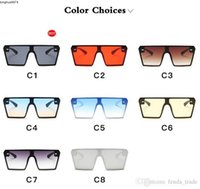 Fashion Women Designer Oversize Sunglasses Square Flat Top Gradient Glasses Men Gafas De Sol 8 Colors 10pcs Factory Price