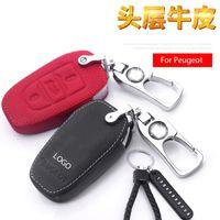 cuir véritable cas clés de voiture pour Peugeot 308 301new 408 508 2008 3008 4008 5008 Peugeot LOGO alliage de zinc Anneaux clés en métal Porte-clefs