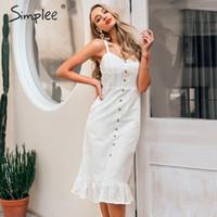 Simplee Zarif beyaz dantel kadın Seksi spagetti kayış dişi fırfır pamuk elbise yaz plaj tarzı bayanlar midi elbiseler elbise