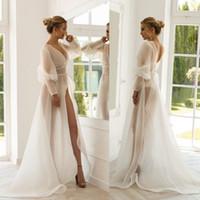 2020 Vestes Sheer organza manches longues Robes de mariée Personnalisées mariée demoiselle d'honneur nuit Une ligne de mariage Cape Manteau