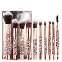 Hot Mais novo pincel de Maquiagem Profissional escovas set 10 pcs Blush Pincéis de Maquiagem escova de Sombra Fundação Em Pó pincel de maquiagem Kit DHL