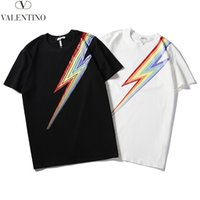 Valantino Mens Designer T-Shirt Summer Brand Multi Rainbow Charger Stampa Tshirt Manica corta Casual Tee Fashion Top Bianco Nero