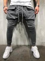 Große Taschen Casual Pants Men Street Hip Hop Hosen Mode Jogging-Bleistift-Hosen Slim Fit Jogginghose