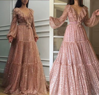 2019 Gold Long Prom Dresses A Line Sexy V- neck Long Sleeves ...