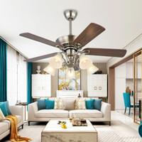 새로운 LED 인기있는 팬 빛 현대적인 간단한 식당 팬 샹들리에 패션 침실 거실 나무 잎 천장 팬 램프 220-240V