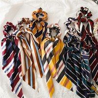 Vintage Çiçek Baskı Scrunchie Kadınlar Saç Eşarp Elastik Bohemian Hairband Yay Saç Kauçuk Halatlar Kız Bağları Aksesuarları