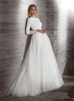 2020 Новый Элегантные линии Креп тюль Модест Свадебные платья с длинными рукавами Boat Neck Покрытый Назад Простой Brdial халатов Свадебное платье LDS