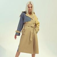 여성 패션 2020 패치 워크 컬러 쟈켓 여성 옷깃 칼라 긴 소매 높은 허리 띠 플러스 사이즈 트렌치 히트