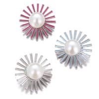 Нуса-жемчужные бусины Jeweled Snap кнопки ювелирных изделий подсолнечника Выводы для 18мм Snap кнопки ожерелье браслет Кольца ювелирные изделия