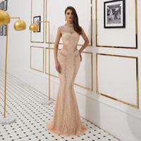 Charme Col haut Cap manches d'or de soirée Major perlage robe de soirée sirène Voir formelle par Prom robe usure occasion spéciale