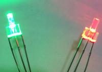 Trou traversant Flat Top Bicolor 2MM diode LED Rouge @ Couleur Vert eau claire