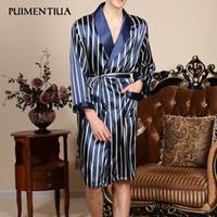 Мужские пижамы Puentialua Мужская сатин Pajamas халат длинные рукава халат полоса ночное халат 2021 человек мода