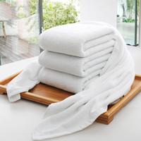 الجملة فندق حمام المناشف دار الضيافة 100 ٪ القطن الأبيض منشفة للجنسين الاستخدام الطبيعي الآمن حمام منشفة لينة لوازم الحمام DH0710