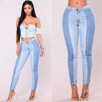 Moda jeans mulheres com painéis Skinny jeans stretch Casual Pockets Splice Magro lápis Plus Size Jeans