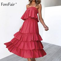 Forefair Slash Neck Sommerkleid Strand Schulterfrei Baumwolle Leinen Brust Wrap Zweiteiler Midi Backless Party Kleid Frauen
