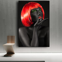 1 Pcs Black Red Hair African Woman Posters and Print Canvas ...