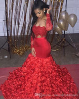 Red Sexy Mermaid Prom Dresses Two Piece Strapless Long Sleev...