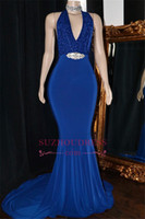 2019 Royal Blue Mermaid Prom robes de soirée sexy dos nu cristal Sash Parti robe formelle Plus Size Pageant Robes Custom Made