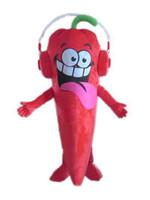2019 Vente directe à l'usine d'un costume de mascotte de piment rouge avec un écouteur pour adulte à porter pour la vente pour la fête
