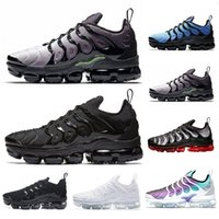 Nike air max vapormax TN Plus 2019 Recién llegado de color verde oliva para hombre zapatillas Plus Nylon Metallic White Silver Colorways Pack TN Triple Negro