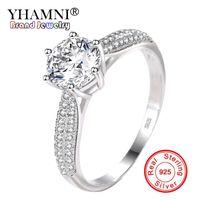 YHAMNI 100% Кольцо Стерлингового Серебра 925 Прозрачный Шесть Когтей Цирконий Мода Свадьба Обручальное Классические Украшения Для Женщин YJZ351