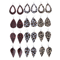 Marquise Leopard Leather Earrings Double- sided Leaf Imitatio...