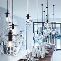 Basit modern cam top kolye ışık LED E27 art deco Avrupa asılı lamba yatak odası restoran mutfak salonu için 8 stilleri ile