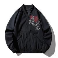 Бомбер Куртка Мужчины Китайский Дракон Вышивка Пилот Куртка Ретро Панк Хип-Хоп Осень Молодежи Уличная Одежда High Street Hipster