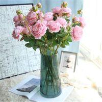 웨딩 거실 장식 61CM 가짜 실크 PU 꽃 도매 DIY 홈을위한 10PCS 3 헤드 모란 인공 꽃 화환 H57을 꾸미기