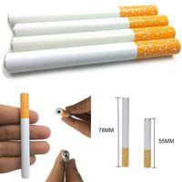 Cigarette En Forme De Tuyau En Métal Frappeur Main De Tabac Tabagisme Filtre Filtres Tuyaux Porte-Tubes Outils 55mm 78mm Longueur Snuff Snorter 100pcs / lot
