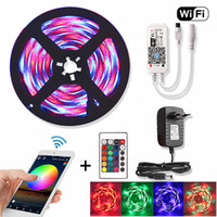 5M WiFi RGB Led Strip Water Against 2835 DC 12V Diode شريط Neon المرنة Led Lights Strips Rf Remote Controller+Adapter Pluge