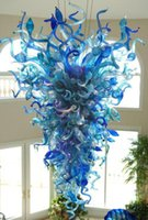 Azul araña hotel grande colgante lámpara color arte moderno cristal chandeliers 110V-240V LED bombillas iluminación interior para la decoración del hogar