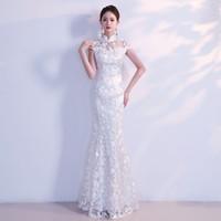 اللباس الأبيض شيونغسام تشيباو طويل فساتين الزفاف التقليدية الصينية الصين متجر لبيع الملابس فستان شرقية الحجم XS S M L XL XXL